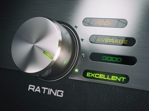 Level of quality service, satisfaction, customer loyalty concept. Knob in highest excellent position.